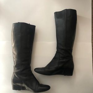 Black Leather Nine West Riding Boots